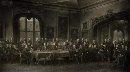 Photograph of a painting of Benchers in Parliament Chamber 1880