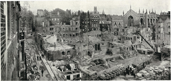 Destruction in the Temple taken from Middle Temple Lane looking towards Temple Church, c.1940-c.1944