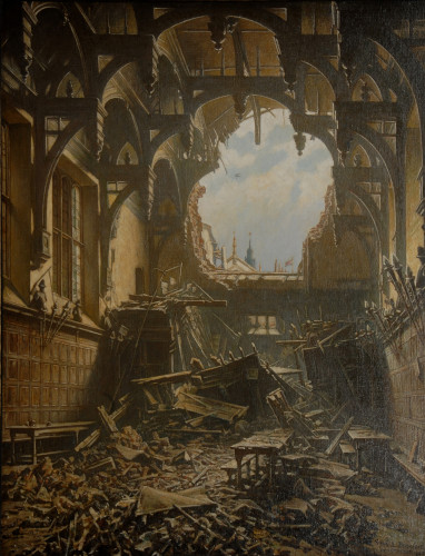 'Armistice Day 1940', a painting of Middle Temple Hall by Frank E. Beresford