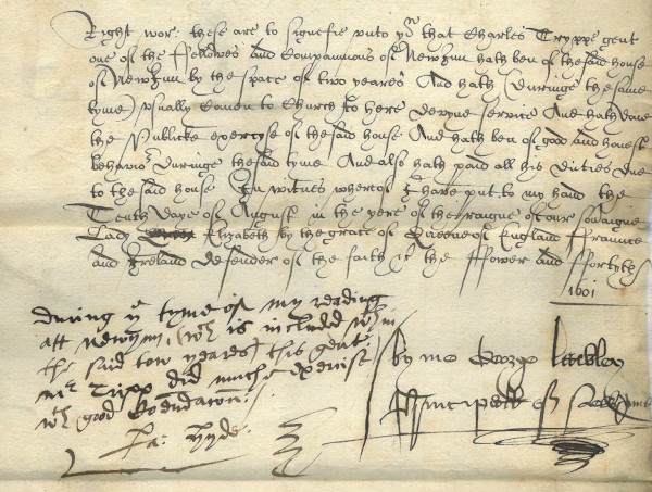 The earliest surviving membership record for New Inn, Charles Tryppe, 10 August 1601 (MT/12/CER/1)