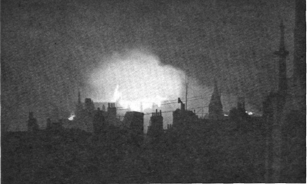 View of the burning roof of Temple Church, May 1941
