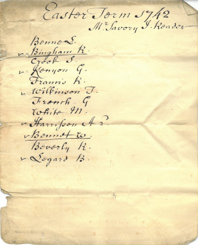 List of candidates for the position of Reader at New Inn, Easter Term 1742 (MT/12/REA/15)