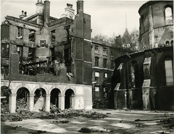 Destruction at the Cloisters and Temple Church, 29 May 1941