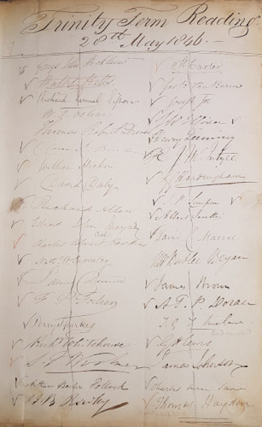 Signatures of attendees at the last Reading at New Inn, Trinity Term 1846 (MT/12/LEC)