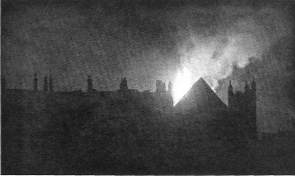 The roof of Middle Temple Hall burning, March 1944