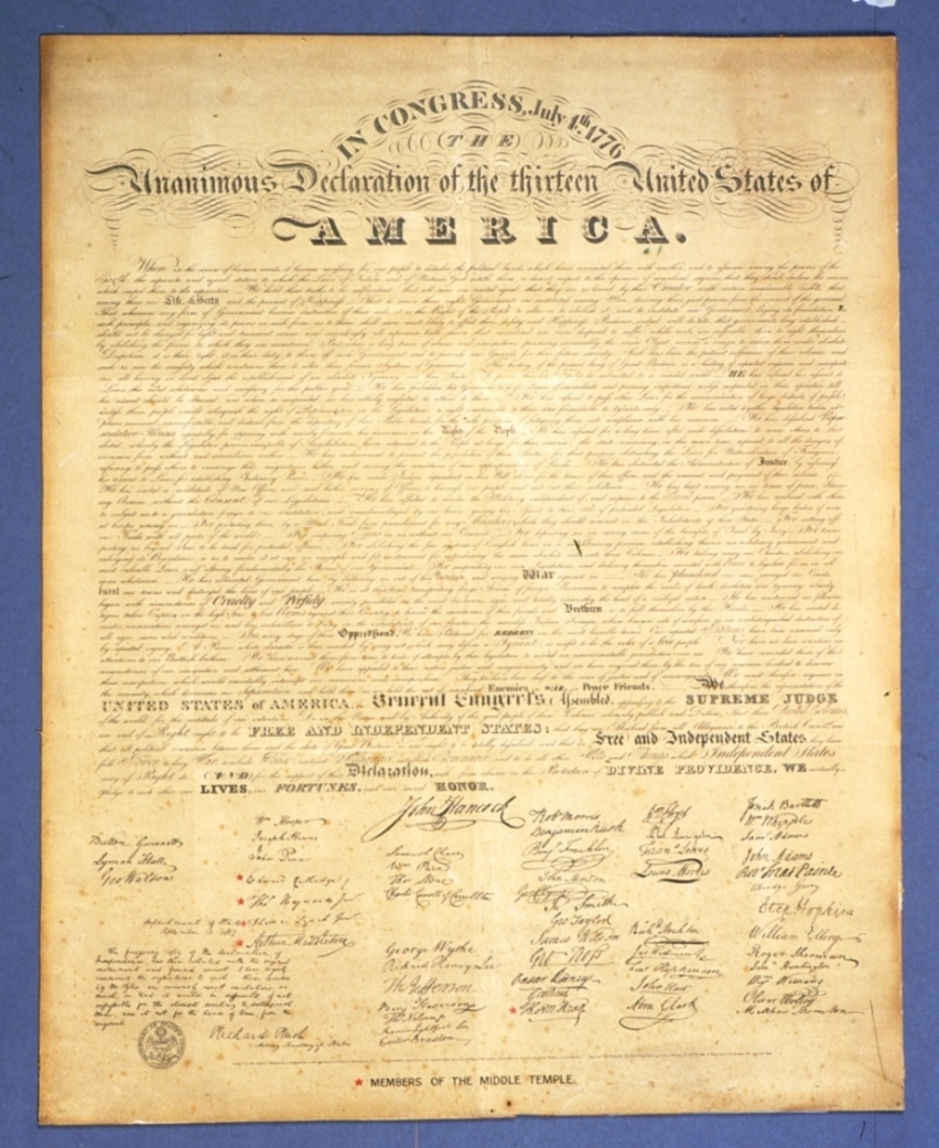 copy of U.S. Declaration of Independence