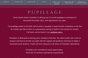 Great James Street Pupillage Advert